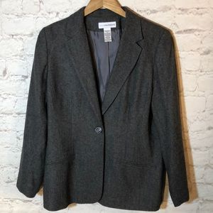 SAG HARBOR GRAY WOOL SINGLE BREASTED BLAZER